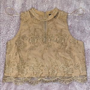 Gold & cream floral embroidered crop top!